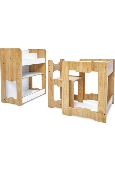 Minera 4-6 Yaş Martı Model Çocuk Çalışma Oyun Masa Sandalye ve Kitaplık Seti