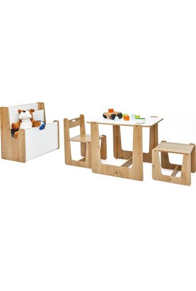 Minera 2-4 Yaş Turna Model Çocuk Çalışma Oyun Masa Sandalye Tabure ve Kitaplık Seti