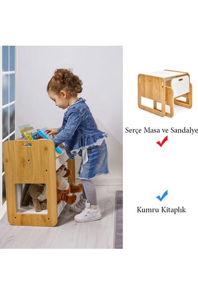 Minera 0-18 Ay Serçe Model Çocuk Çalışma Oyun Masa Sandalye ve Kitaplık Seti