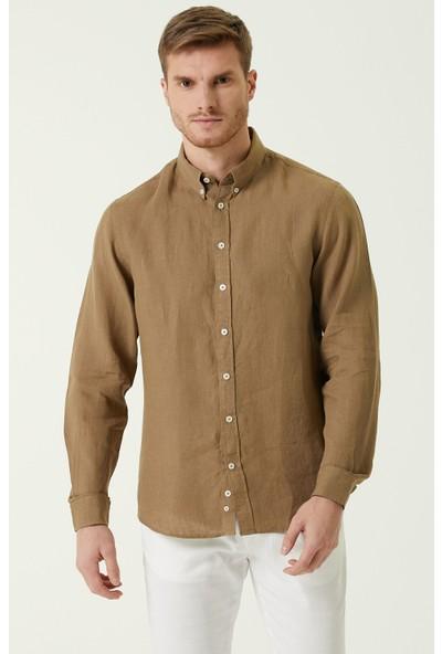 Network Comfort Fit Kamel Düğmeli Yaka Keten Gömlek