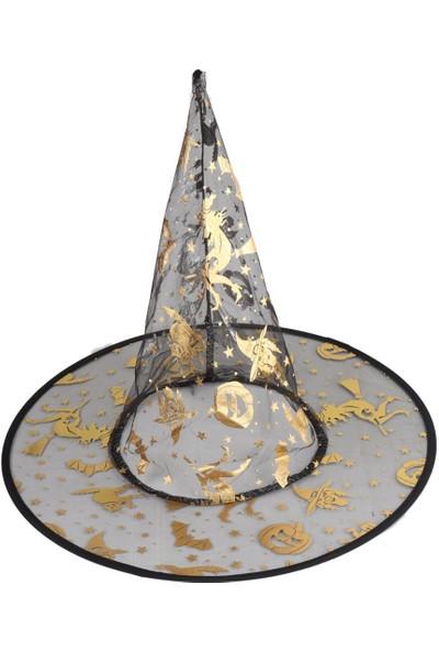 Beysüs Cadılar Bayramı Halloween Cadı Şapkası Şeffaf Gold Yetişkin ve Çocuk