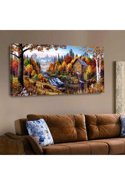 ZEVAHİR MOBİLYA DEKORASYON Zevahir 120X60 Kanvas Yağlı Boya Görünümlü Ev ve Şelale Manzara Tablosu