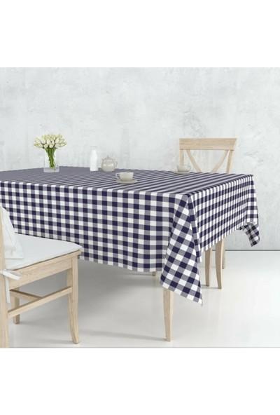 Dede Ev Tekstil Elyaf Astarlı Silinebilir Muşamba Masa Örtüsü – Lacivert Pötikare - 107-2