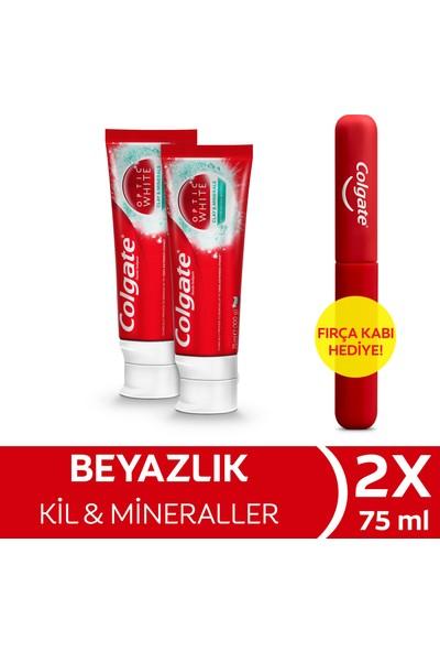 Colgate Optic White Kil & Mineraller Beyazlatıcı Diş Macunu 75 ml x 2 Adet + Fırça Kabı Hediye