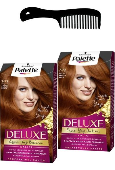 Palette Deluxe Saç Boyası 7-77 Yoğun Parlak Bakır x 2 Adet + Saç Açıcı Tarak