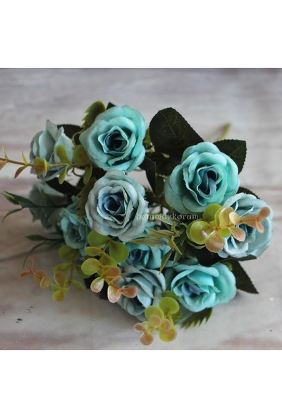 Yapay Çiçek Gül Yaban Gülü Demeti Mavi 10 Kafa