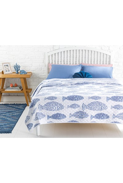English Home Sea Shoal Tek Kişilik Çok Amaçlı Yatak Örtüsü 160 x 220 cm. Mavi