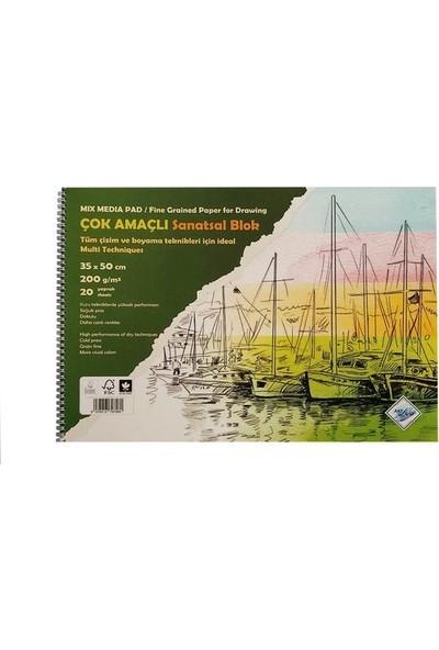 Art Liva Çok Amaçlı Sanatsal Blok Resim Defteri 35X50 cm 200 gr 20 Yaprak