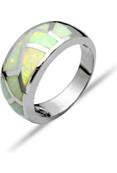 Glint Point Asimetrik Opal Taşlı Gümüş Yüzük