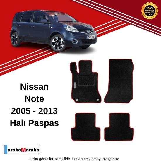 Automix Nissan Note Siyah-Kırmızı Halı Paspas |Topuk Korumalı | 2005-2013 Arası Modeller İçin