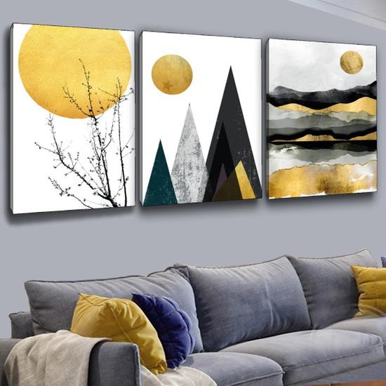 ZEVAHİR MOBİLYA DEKORASYON Zevahir 3'lü Kanvas Sarı Beyaz Renk Modern Tablo