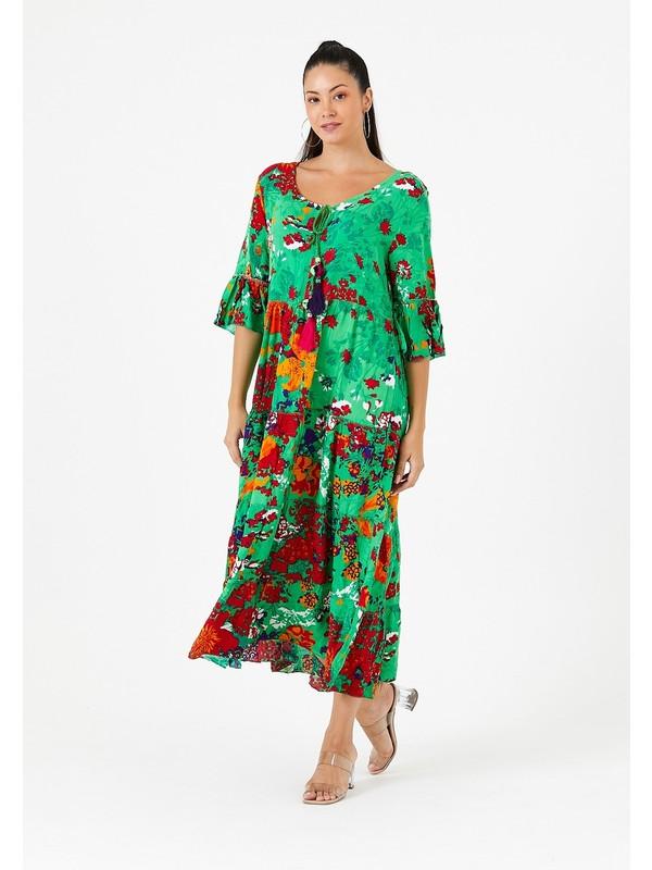 Vale Woman Valewoman Desenli Püskül Detaylı Kadın Viskon Elbise   Etnik Elbise  