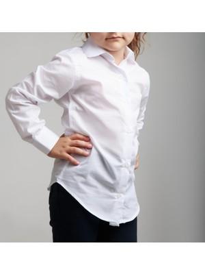 Mavimoure Uni Çocuk Beyaz Gömlek
