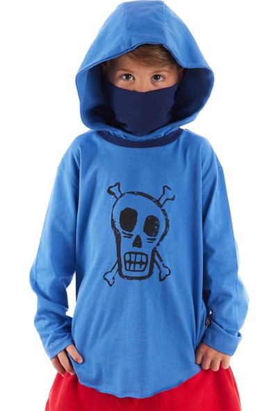 Colorinas Mask Hoody Uzun Kol Tshirt Indigo