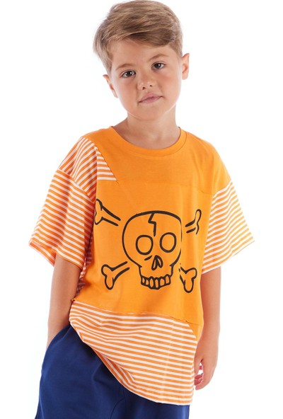 Colorinas Stripe Patch Tshirt Turuncu
