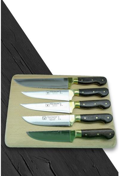 Sürmene Gül Saplı Kasap 5'li Bıçağı Seti, 29 x 31 x 33 x 35 x 37 cm.
