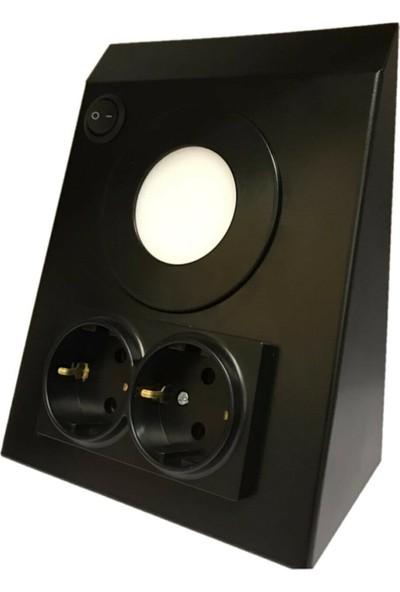 Aral LED Mutfak Tezgah/dolap Altı 3W Günışığı Siyah Çift Priz Metal LED Aydınlatma