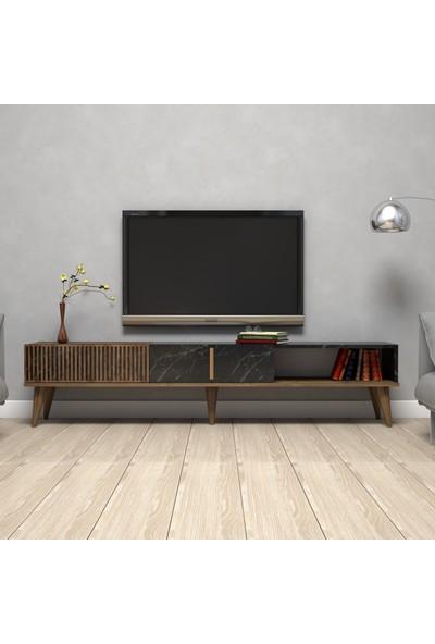 Variant Mobilya Variant Milan Alt Tv Ünitesi - Ceviz / Siyah Mermer