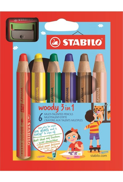 Stabilo Woody Kuru boya 3in1 6 Renk + Kalemtraş