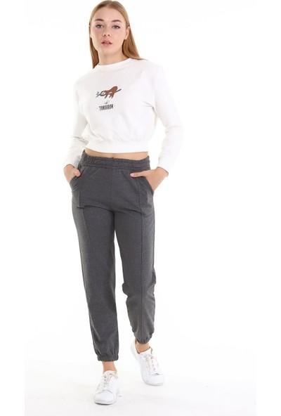 Trender 2 Ip O Yaka Şardonsuz Crop Baskılı - Tomorrow Kadın Sweat Ekru