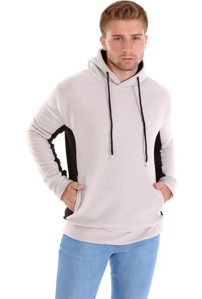 Trender 1004 Yandan Parçalı Kapşonlu Erkek Polar Sweat Siyah-Gri