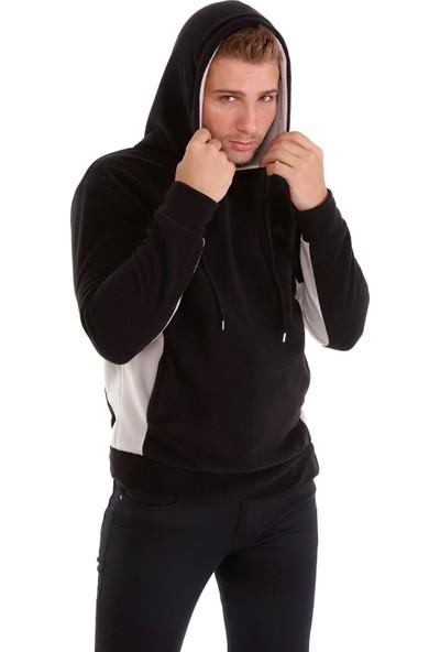 Trender 1004 Yandan Parçalı Kapşonlu Erkek Polar Sweat Gri-Siyah