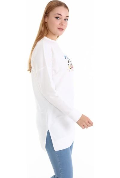 Trender 21514-1 2ip Uzun O Yaka California Baskılı Kadın Sweat Ekru