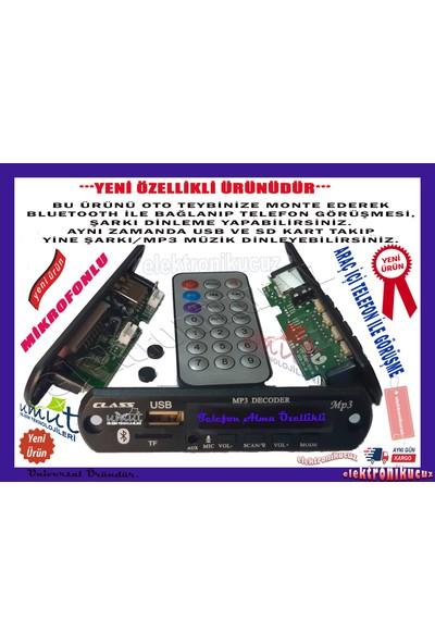 Class Bluetoothlu Araç Oto Teyp Aux USB Sd Mikrofonlu Dönüştürücü Çevirici Mp3 Modülü