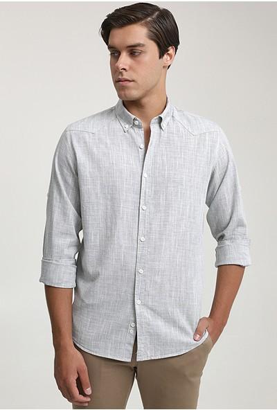 D'S Damat Slim Fit Haki Keten Görünümlü Gömlek