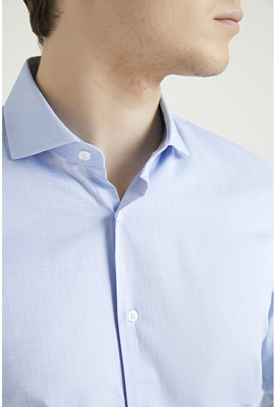 D'S Damat Slim Fit Mavi Armürlü Gömlek