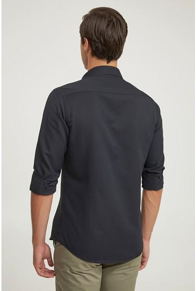 D'S Damat Twn Slim Fit Siyah Gömlek