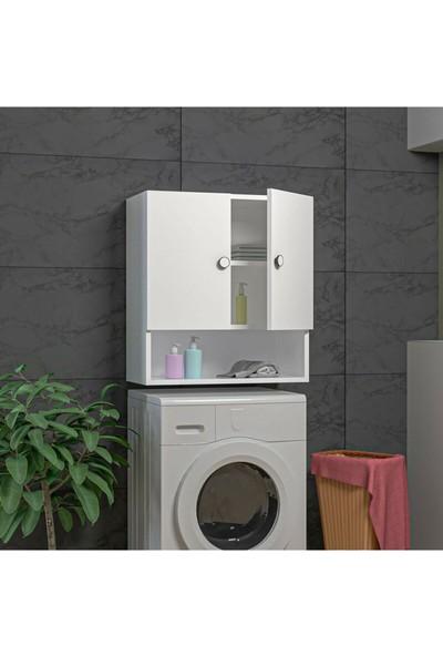 Albero Mobilya Y&e Albero Serin 2 Kapaklı Raflı Banyo Dolabı Çok Amaçlı Makina Üstü Dolap