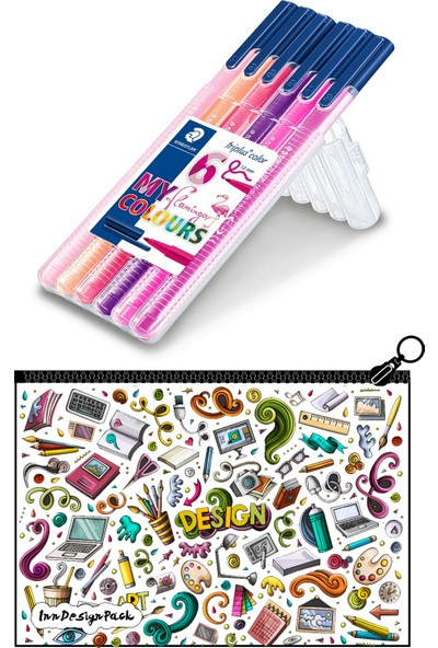 Staedtler Triplus 1.0 mm Uçlu Keçe Kalem 6'lı Set Flamingo Boyanabilir Kalem Kutu Design