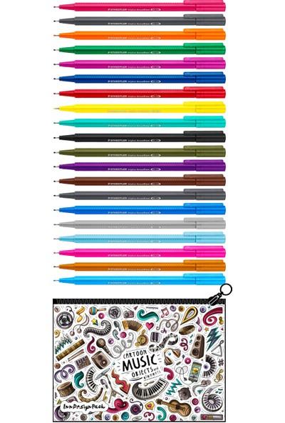 Staedtler Triplus Broadliner 0.8 mm Keçe Kalem 20 Renk Set Boyanabilir Kalem Kutu Music