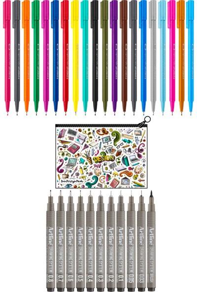 Staedtler Broadliner 0.8 mm 20'li Set 11 Adet Çizim Kalemi Kalem Kutu Design
