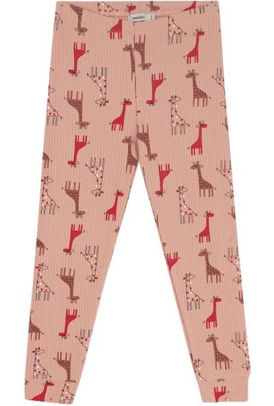 Antebies Açık Pembe Zürafa Desen Uzun Kollu Pijama Takımı