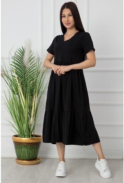 Kalopya Bayan V Yaka Volanlı Elbise RBY17
