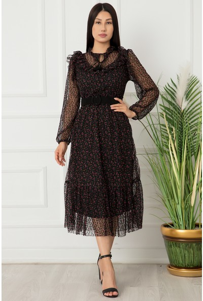 Kalopya Bayan Tül Floklu Elbise 22-157
