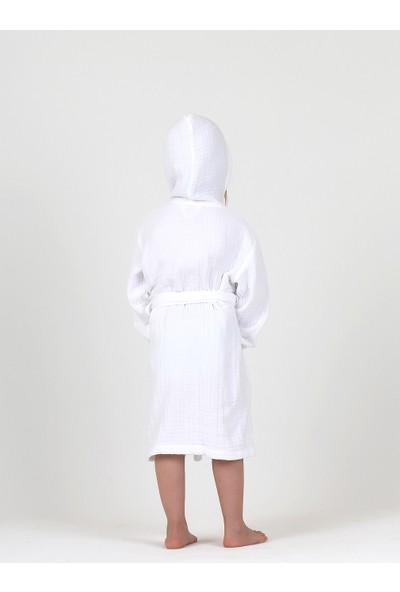 Lunanino 4 Kat Multi Müslin Bebek Çocuk Bornoz Beyaz