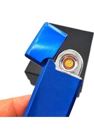 Hediyehanesi Kişiye Isme Özel USB Şarjlı Alevsiz Elektronik Çakmak Mavi M04
