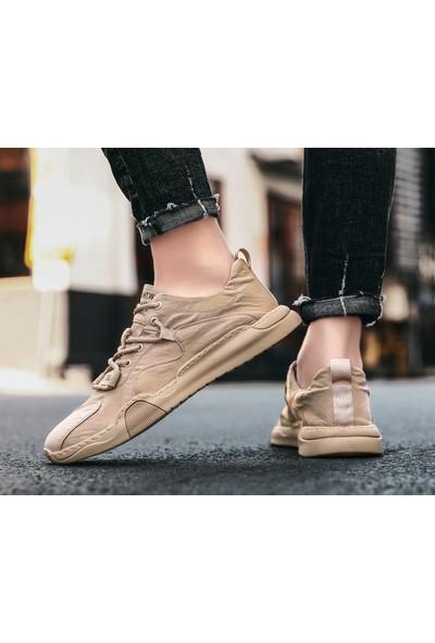 Lifeenjoy Erkekler Yaz Hafif Kumaş Düz Ayakkabı Erkek Rahat Nefes Alabilir Bağcıklı Yürüyüş Sneakers