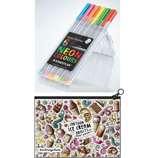 Staedtler Triplus 0.3 mm Keçe Kalem 6'lı Set Neon Boyanabilir Kalem Kutu Ice Cream