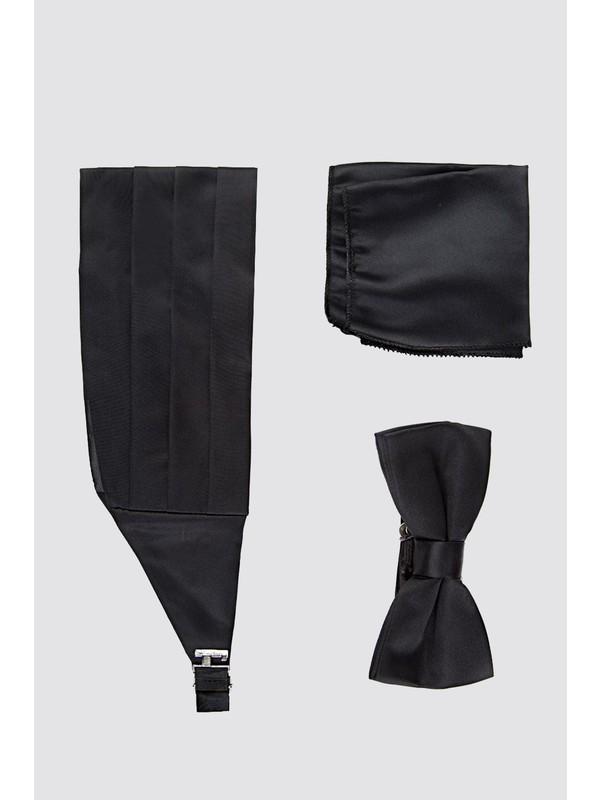 D'S Damat Siyah Düz Kusak-Papyon-Mendil Set