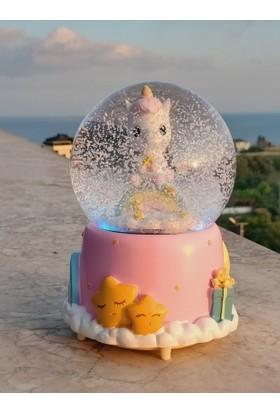 Bent Çılgın Unicorn Müzikli Kar Püskürten Gece Lambası Kar Küresi