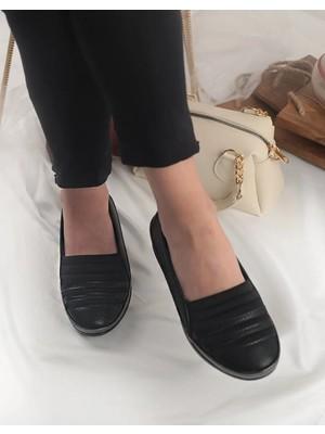 Pabucmarketi Kadın Deri Siyah Anne Ayakkabısı