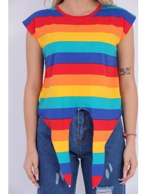 Yağmur Fashion Çizgili Önden Bağlamalı Tişört
