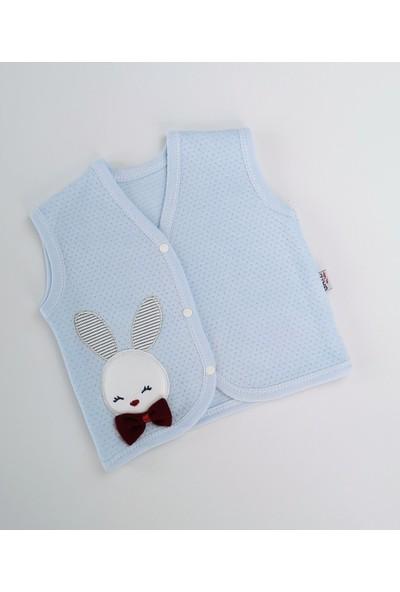 Gaye Tavşan Işlemeli Penye Mavi Erkek Bebek Yelek