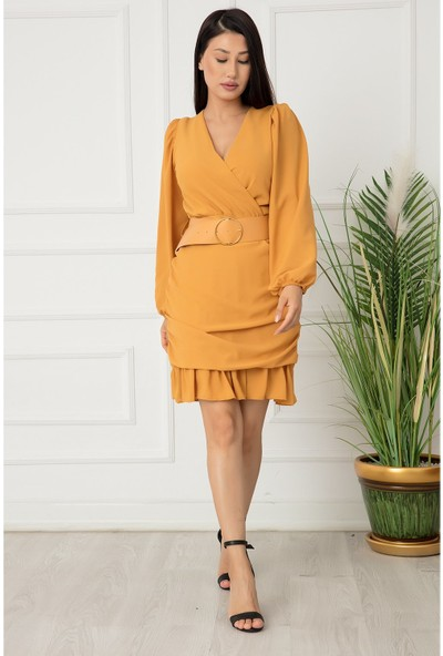 Kalopya Bayan Kruvaze Yaka Kemerli Şifon Elbise 8229