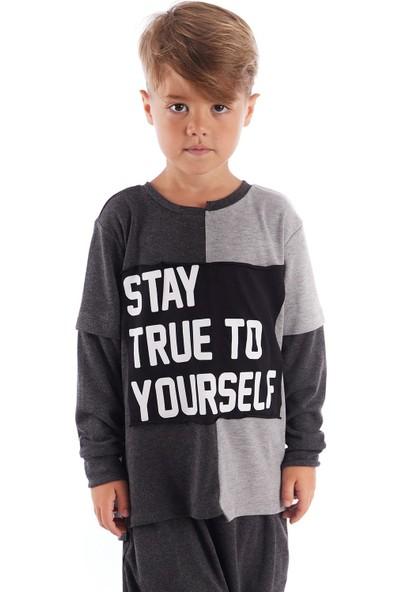Colorinas Stay True Patch Tshirt Antra-Gri
