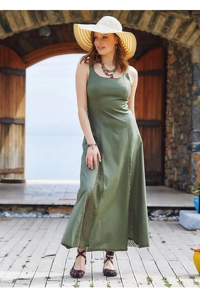 Ege Toprak Bohem Tarz Maxi Dantelli Elbise
